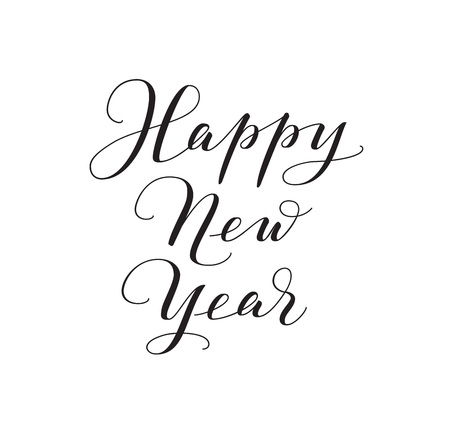 Happy New Year calligraphy isolated on white background. Vector hand drawn text