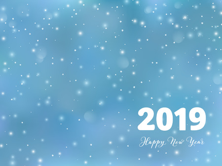 2019 typography design. Winter season background with falling snow. Happy New Year text, calligraphy