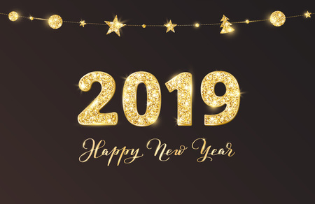 2019 glitter typography design. Happy New Year text, calligraphy. Golden sparkling numbers on black background
