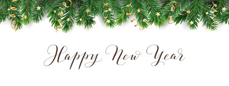 Banner with Happy New Year calligraphy. Seamless vector decoration on white. Christmas illustration, winter holiday background. Christmas tree frame, garland. Border for party poster, header Illusztráció