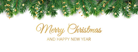 Banner with Merry Christmas text. Seamless vector decoration on white. Christmas illustration, winter holiday background. Christmas tree frame, garland. Border for party poster, header Illusztráció