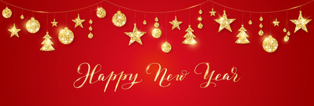Banner with Happy New Year calligraphy. Christmas golden glitter decoration on a string Illusztráció