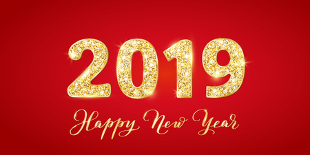 2019 glitter typography design. Happy New Year text, calligraphy. Golden sparkling numbers on red background Illusztráció