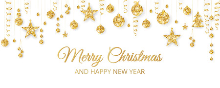 Christmas golden decoration on white background. Merry Christmas and Happy New Year text. Hanging glitter balls, trees, stars. Winter season sparkling ornaments on a string. For party posters, banners