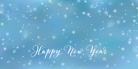 Happy New Year text, calligraphy. Blue background with vector falling snow. Snowfall abstract texture. For winter season greeting cards, holiday banners, Christmas party posters, New Year gift tags. Illusztráció