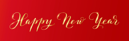 Happy New Year calligraphy on red background. Golden hand drawn text