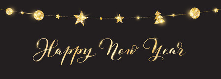 Banner with Happy New Year calligraphy. Christmas golden glitter decoration on a string Stock fotó