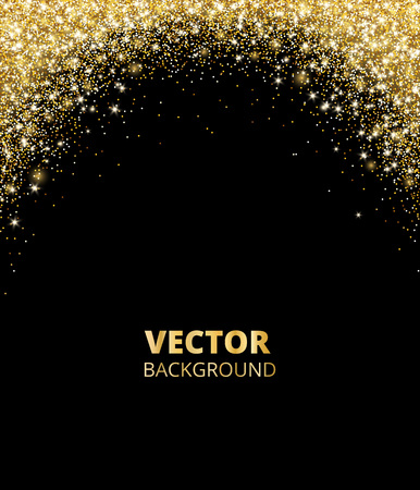 Sparkling glitter border, frame. Falling golden dust on black background. Vector gold arch decoration. For wedding invitations, party posters, Christmas, New Year and birthday cards. Illusztráció