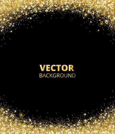 Sparkling glitter border, frame. Falling golden dust on black background. Vector gold arch decoration.