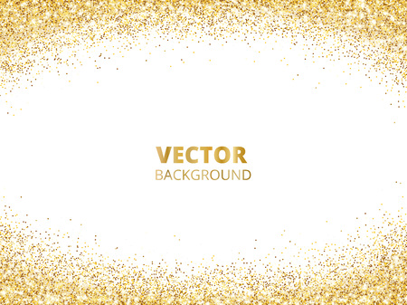 Sparkling glitter border, frame. Falling golden dust isolated on white background. Vector gold arch decoration. For wedding invitations, party posters, Christmas, New Year and birthday cards.