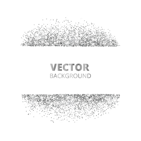 Sparkling glitter border, frame. Scattered silver dust isolated on white background. Vector glittering decoration. For wedding invitations, party posters, Christmas, New Year and birthday cards.