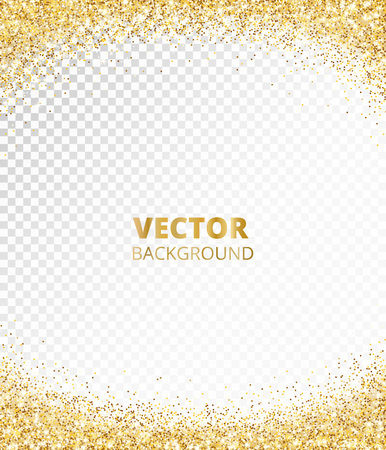 Sparkling glitter border, frame. Falling golden dust isolated on transparent. Vector gold arch decoration. For wedding invitations, party posters, Christmas, New Year and birthday cards. Illusztráció
