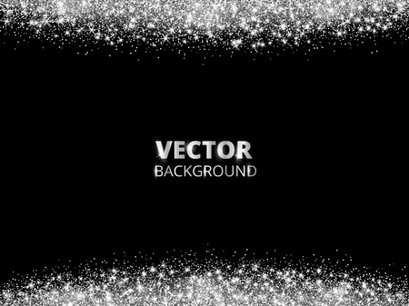 Sparkling glitter border, frame. Falling silver dust on black background. Vector glittering decoration. Stock fotó - 114740710