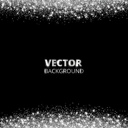 Funkelnde Glitzergrenze, Rahmen. Fallender Silberstaub auf schwarzem Hintergrund. Vektor weiß glitzernde Dekoration. Für Hochzeitseinladungen, Partyposter, Weihnachts-, Neujahrs- und Geburtstagskarten. Vektorgrafik