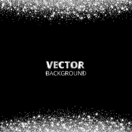 Sparkling glitter border, frame. Falling silver dust on black background. Vector white glittering decoration. For wedding invitations, party posters, Christmas, New Year and birthday cards.