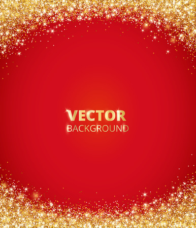 Sparkling glitter border, frame. Falling golden dust on red background. Vector gold arch decoration. For wedding invitations, party posters, Christmas, New Year and birthday cards. Illusztráció