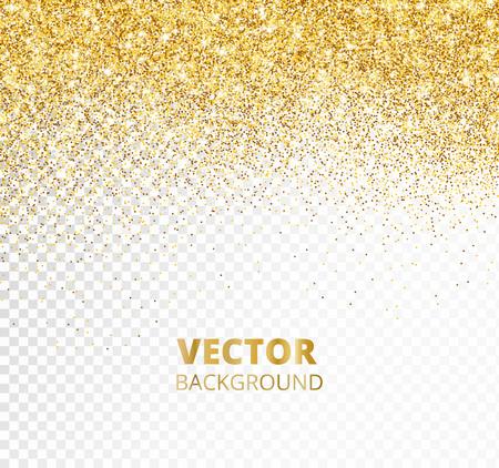 Bordure de paillettes scintillantes, cadre. Chute de poussière dorée isolée sur fond transparent. Décoration d'or de vecteur. Pour les invitations de mariage, les affiches de fête, les cartes de Noël, du Nouvel An et d'anniversaire.