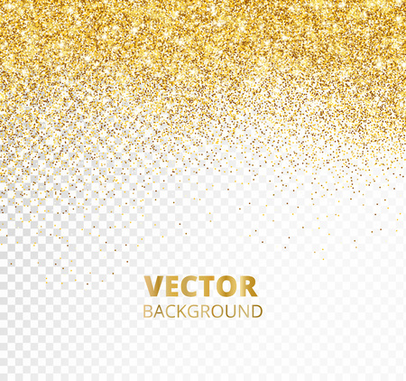 Sparkling glitter border, frame. Falling golden dust isolated on transparent background. Vector gold decoration. For wedding invitations, party posters, Christmas, New Year and birthday cards. Illusztráció