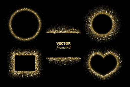 Sparkling glitter borders, frames. Vector gold decoration. Circle, rectangle and heart shapes. Golden dust on black. For Christmas, birthday and valentine cards, wedding invitations, party posters.