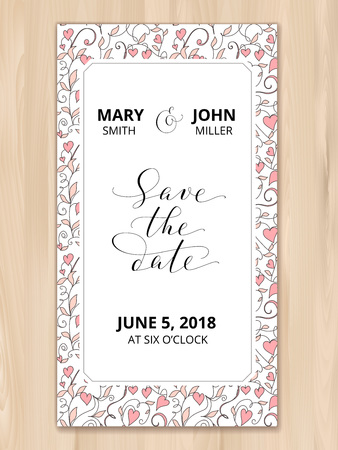 Save the date card with hearts pattern background, invitation template. Hand written custom calligraphy. Illusztráció
