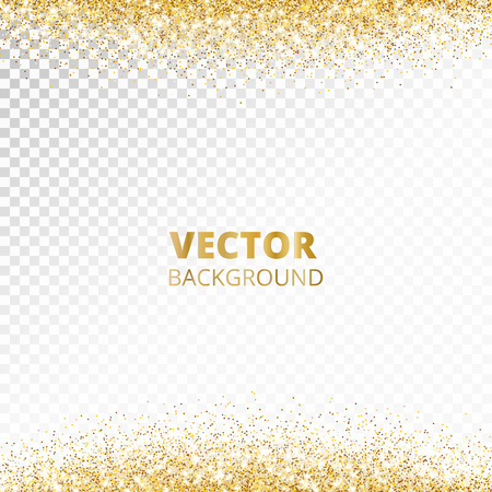 Sparkling glitter border, frame. Falling golden dust isolated on transparent background. Vector gold decoration. For wedding invitations, party posters, Christmas, New Year and birthday cards. Illustration