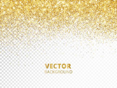 Funkelnde Glitzergrenze, Rahmen. Fallender goldener Staub auf transparentem Hintergrund isoliert. Vektorgolddekoration. Für Hochzeitseinladungen, Partyposter, Weihnachts-, Neujahrs- und Geburtstagskarten. Vektorgrafik