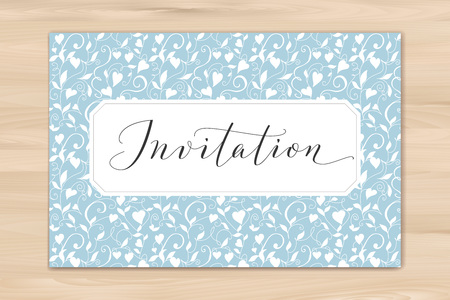Invitation card with hand written custom calligraphy and hearts background. Great for wedding and birthday party design, cards, banners.