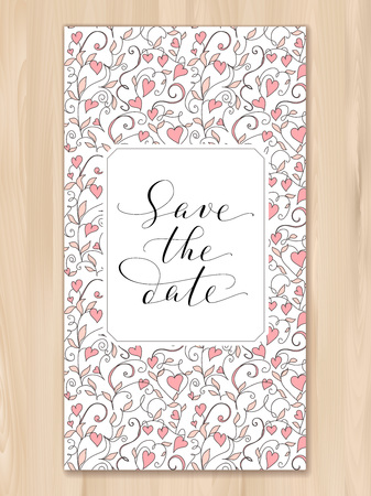 Save the date card with hearts pattern background, invitation template. Hand written custom calligraphy. Stock fotó - 114740748