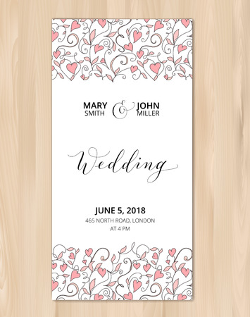 Wedding card with hearts pattern background, invitation template. Hand written custom calligraphy.