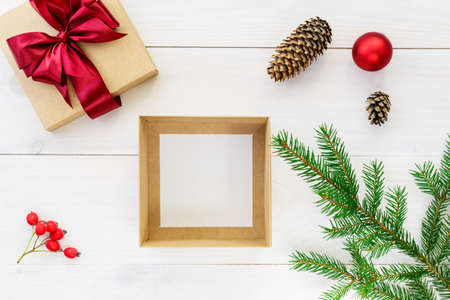 Empty box for a gift on a wooden table. Gift for Christmas and New Year.