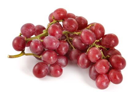 Cluster of ripe juicy red grapes with large berries on a white background