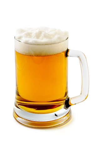 Mug  of delightful amber beer with the big foam Stock Photo