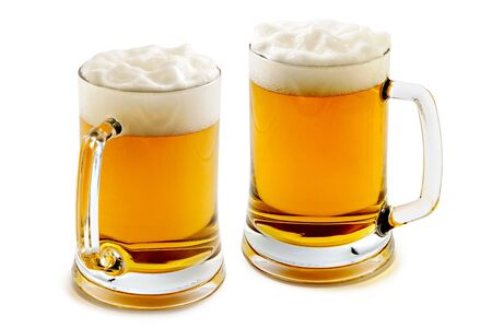 Two mugs of delightful amber beer with the big foam