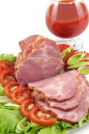 고기의: Plate with snack from pork-laying of a celebratory table