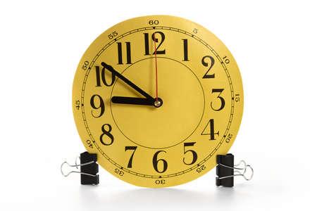 puntualidad: Concepto de la puntualidad y la exactitud de los trabajos de oficina persona  Foto de archivo
