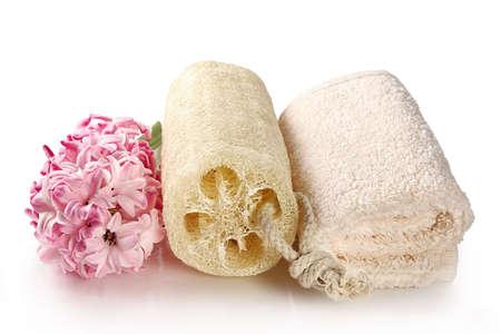 weakening: Natural sponge and terry towel-accessories for weakening massage and bath procedures Stock Photo