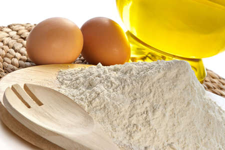 Flour, eggs, oil-components for bacery of house bread Stock Photo