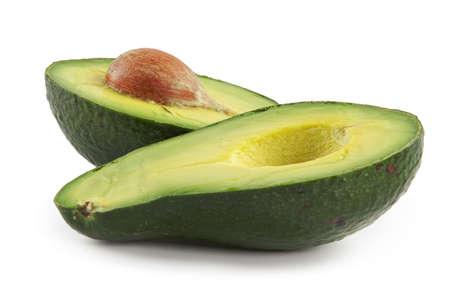 fleshy: Avocado-oily nutritious fruit.Two fleshy halfs on white background