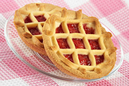 Tartlet with cherry jam-sweet entertainment to tea photo