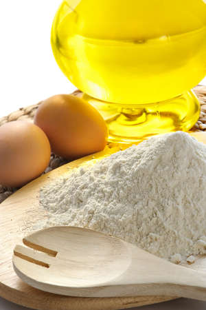 Flour, eggs, oil-components for bacery of house bread Archivio Fotografico