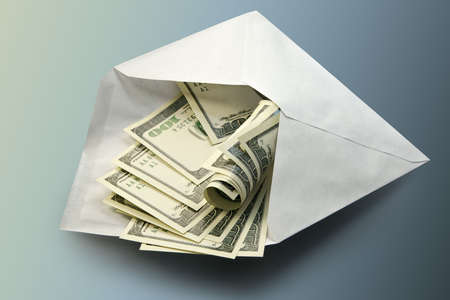enrich: Dollars in an envelope-concept of a prosperity and riches