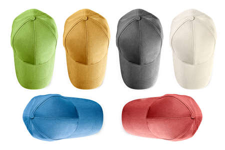 Baseball caps from  jeans fabric isolated on white background
