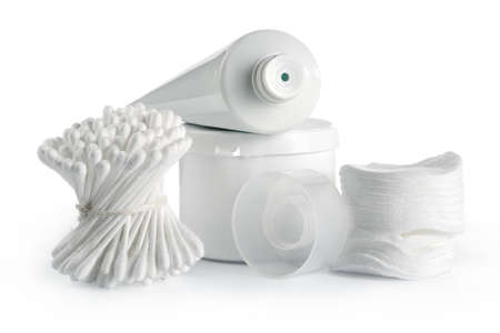 White spa and hygiene accessories-faultless cleanliness, freshness and neatness Archivio Fotografico