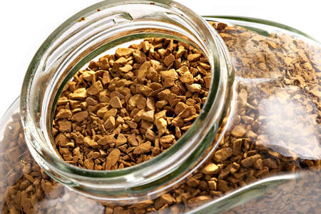 granules: Instant coffee in glass bank-fragrant mixture of the refined grades granules
