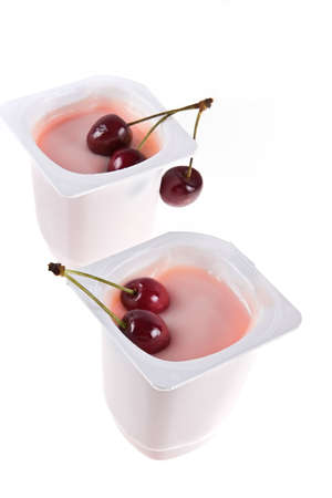 shined: Cooled sweet cherry yoghurt shined from below on white