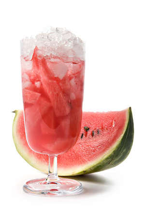 Cocktail from a watermelon with a chipped ice