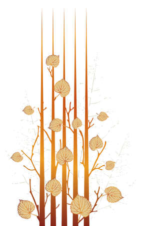pressed: Autumn grunge leaves-vector sketch of variants with attritions background Stock Photo