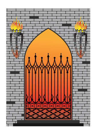 smithery: Ornate smart forged iron gothic window-accurate drawing sketch of editable modules
