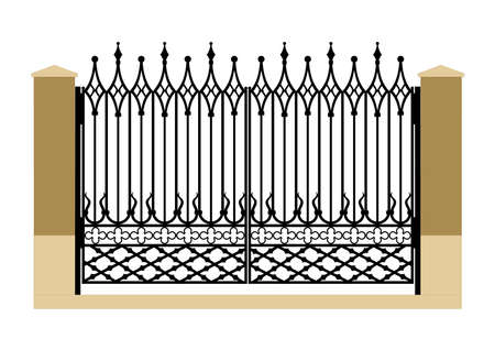 iron gate: Ornate smart forged iron gothic gate-accurate drawing sketch of editable modules Stock Photo