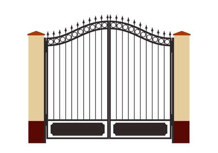 puertas de hierro: Adornado elegante verja de hierro forjado de precisi�n de dibujo boceto de editar m�dulos